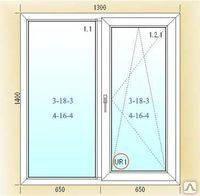 Поворотно-откидное двухчастное окно 1300*1400 Vikra лайт (3 кам)