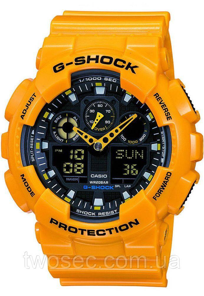 Часы наручные в стиле Casio G-Shock ga-100 желтые