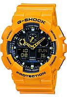Часы наручные в стиле Casio G-Shock ga-100 желтые, фото 1