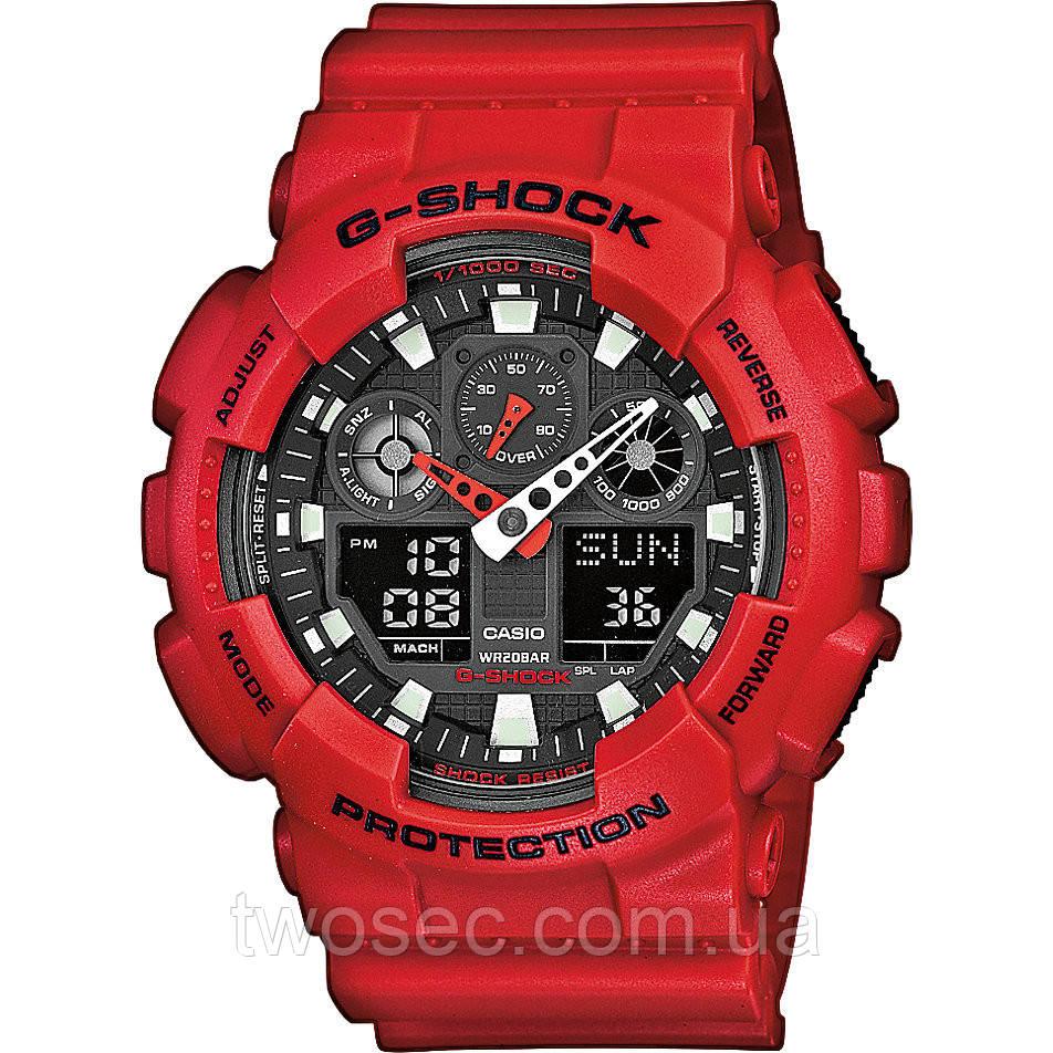 Часы мужские наручные в стиле Casio G-Shock GA-100 красные (Касио Джи Шок) электронные противоударные