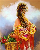 Схема для вишивки бісером POINT ART Дівчина з кошиком, розмір 24х30 см