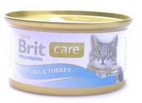 Консервы для кошек Brit Care Тунец и индейка в соусе 80 гр.