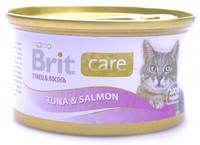 Консервы для кошек Brit Care Тунец с лососем в соусе 80 гр.