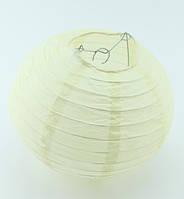 Бумажный подвесной фонарик, кремовый, 40 см