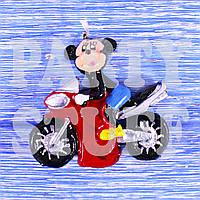 Свеча для торта Микки Маус на мотоцикле