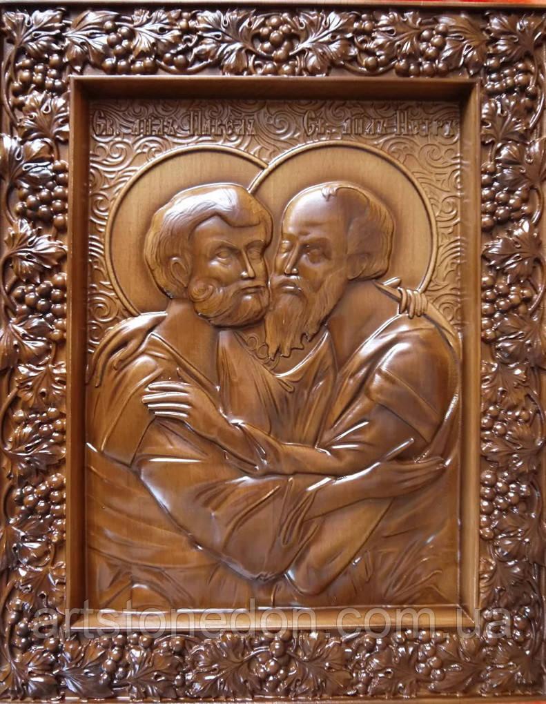 Икона резная из дерева Святые Петр и Павел