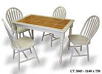 Стол СТ3045 - Onder Mebli - беленый дуб+керамическая плитка