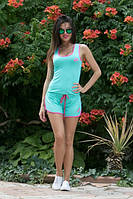 Костюм женский Молодёжный Nike с шортиками ткань х/б цвет мята