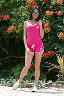 Костюм женский Молодёжный Nike с шортиками ткань х/б цвет малина