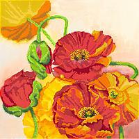 Схема для вышивки бисером POINT ART Красные маки, размер 35х35 см