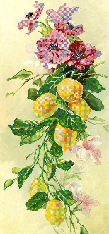 Схема для вышивки бисером POINT ART Лимоны, размер 28х60 см
