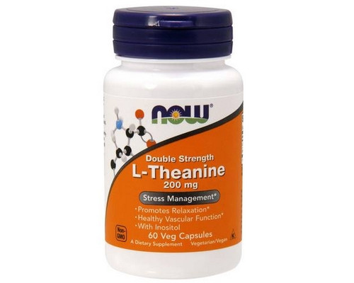 NOW Foods Double Strenght L-Theanine 200 mg 60 капсул