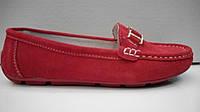 Мокасины женские замша (цвет - красный)