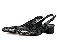 Серебристо-черные кожаные закрытые босоножки