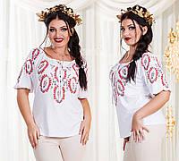 """Летняя женская стильная блуза до больших размеров 7646 """"Рисунок Вышиванка"""""""