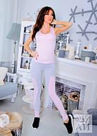 Костюм Стильный  летний  с розовой майкой и легинсами вставки серого цвета
