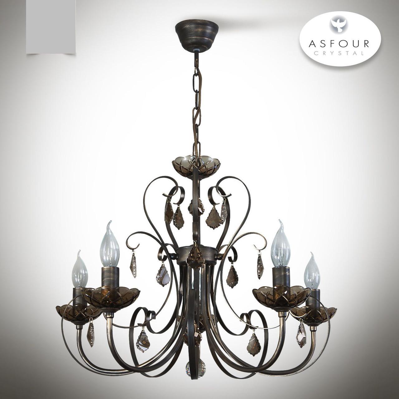 Люстра 5 ламповая темная с хрусталем для зала, спальни, кабинета  12144