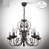 Люстра 5 ламповая с хрусталем для зала, спальни, кабинета