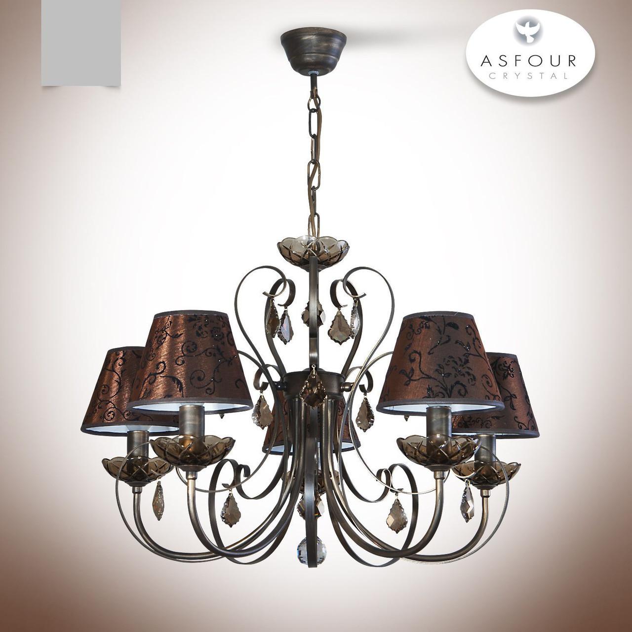 Люстра 5 ламповая с хрусталем и абажурами для зала, спальни, кабинета  12144-1