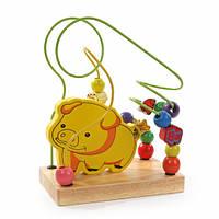 """Деревянная игрушка Пальчиковый лабиринт """"Свинка"""" МДИ Д114"""