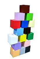 Методика Монтессори Цветные кубики 16 штук 4х4см. (Деревянные кубики: Бук)