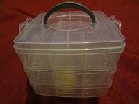 Органайзер-чемодан для фурнитуры 3 яруса (18 ячеек) с ручкой, фото 1