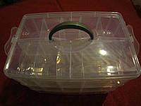 Органайзер-чемодан большой для фурнитуры 3 яруса (30 ячеек) с ручкой, фото 1