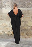 Красивое свободное платье макси с бантом на спинке