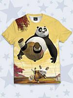 Детская Летняя футболка с красочным рисунком Po and Master Shifu