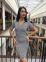 Облегающее женское платье полосатое у-40283