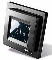 Сенсорный программируемый терморегулятор для теплого пола DEVIreg Touch (черный) с датчиками пола и воздуха