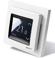 Сенсорный программируемый терморегулятор для теплого пола DEVIreg Touch (белый) с датчиками пола и воздуха