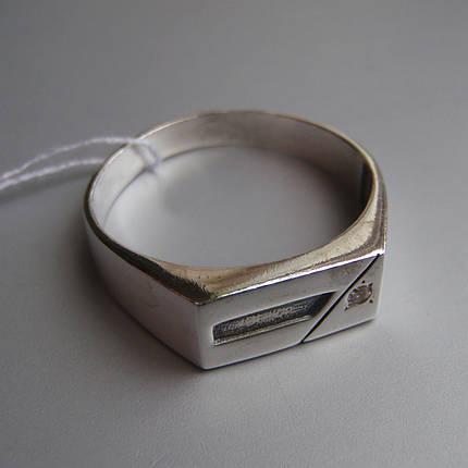Серебряная мужская печатка с фианитом, 4 грамма, фото 2