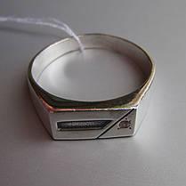 Серебряная мужская печатка с фианитом, 4 грамма, фото 3