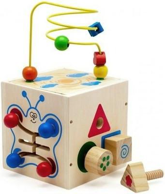 Деревянная игрушка Универсальный Куб-лабиринт 5 в 1 с болтами МДИ Д375