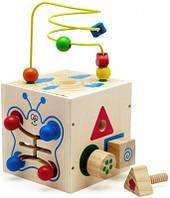 Деревянная игрушка Универсальный Куб-лабиринт 5 в 1 с болтами, фото 1