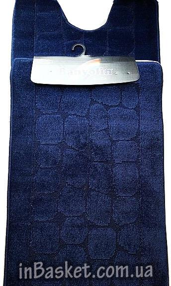 """Комплект синтетических ковриков в туалет и ванную """"Dark blue stone"""""""