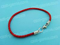 Красный шёлковый браслет с серебром