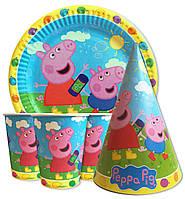 """Набор для детского дня рождения """" Свинка Пеппа голубой """" Тарелки -10 шт. Стаканчики - 10 шт. Колпачки - 10 шт."""