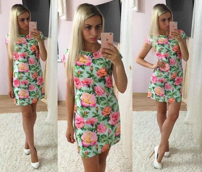 Цветочное платье с коротким рукавом