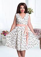 Красивое летнее платье-батал с поясом