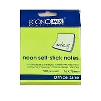 Стикеры Economix 75*75, 100 л, ярко-зеленый
