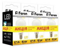 Лампа светодиодная LB-95 P45 230V 5W 400Lm E14 2700K (3шт/скотч)