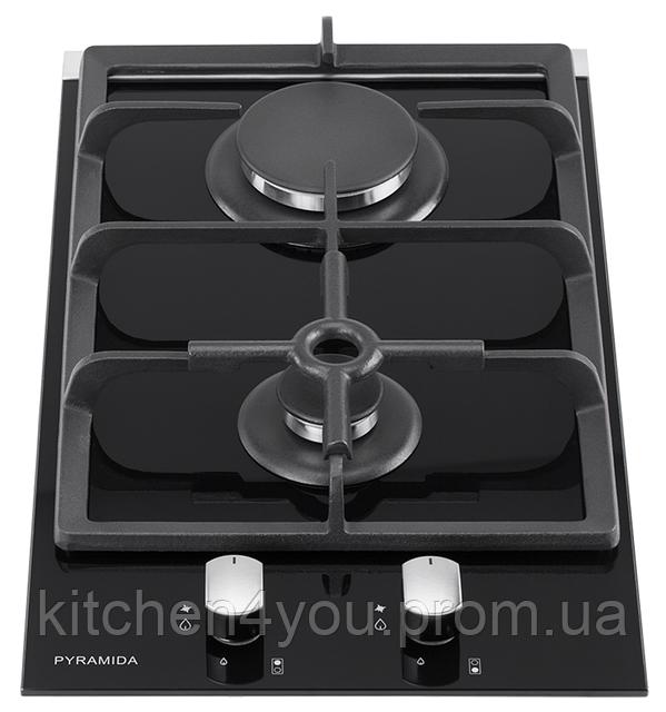 Pyramida PFG 320 black (300 мм.) газовая варочная поверхность, черное закаленное стекло, 2 конфорки