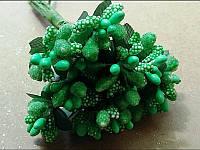 Тычинка на проволоке 4108 зелёный 12 веточек