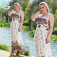 Платье-сарафан летнее белое в цветочный принт с завышенной талией
