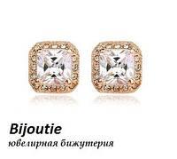 Серьги CRYSTAL SQUARE ювелирная бижутерия золото 18К декор кристаллы Swarovski