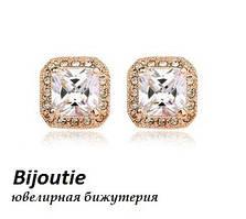 Сережки CRYSTAL SQUARE ювелірна біжутерія золото 18К декор кристали Swarovski