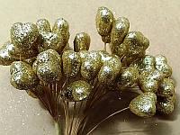 Тычинка на проволоке 4116 золото 12 сердечек