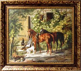 "Картина "" Лошади"", масляная печать, холст"